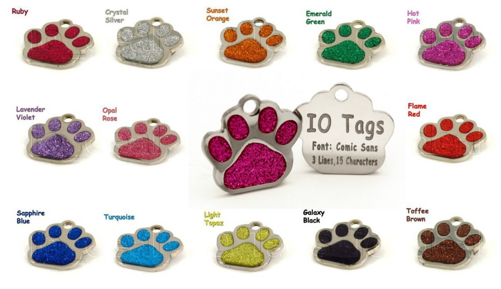 Customize Laser Etched Paw ID Tags 13 Color Choices