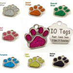 Laser Etched Glitter Paw Pet ID Tags