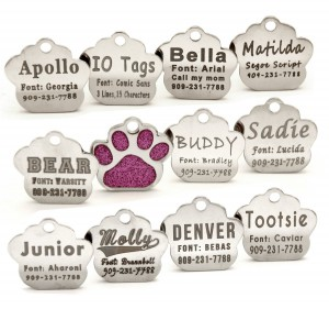 Customize Laser Etched Paw ID Tags 11 Font Choices