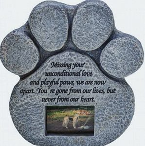 Paw Print Pet Memorial Stone -- Features a Photo Frame and Sympathy Poem
